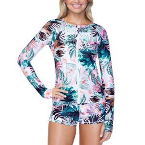 Raisins Juniors' Eco-Capsule Floral-Print Rash Guard, Created for Macy's Women's Swimsuit  - White Multi