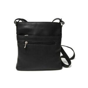 Royce New York Royce Triple Zip Crossbody Bag in Colombian Genuine Leather  - Black