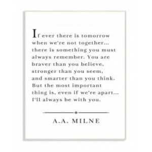 """Stupell Industries I'll Always Be With You A.a. Milne Wall Plaque Art, 12.5"""" x 18.5""""  - Multi"""