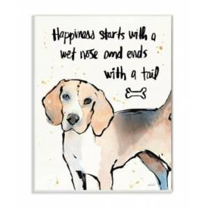 """Stupell Industries Happiness is a Wet Nose and a Tail Wall Plaque Art, 12.5"""" x 18.5""""  - Multi"""