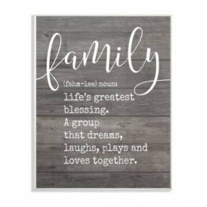 """Stupell Industries Family Definition Planked Wall Plaque Art, 12.5"""" x 18.5""""  - Multi"""