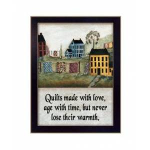 """Trendy Decor 4U Quilts Made With Love By Pat Frisher, Printed Wall Art, Ready to hang, Black Frame, 10"""" x 14""""  - Multi"""