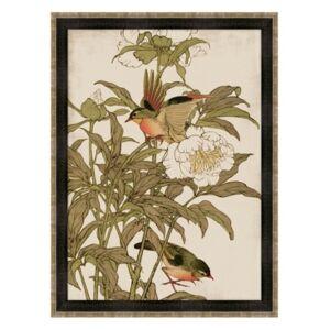 """Melissa Van Hise Peking Robin and Peonies Framed Giclee Wall Art - 35"""" x 47"""" x 2"""""""