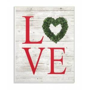 """Stupell Industries Love Wreath Planked Wall Plaque Art, 12.5"""" x 18.5""""  - Multi"""