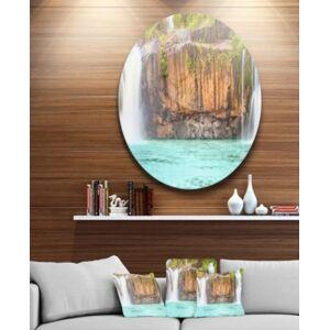 "Design Art Designart 'Dry Sap Waterfall' Disc Photography Circle Metal Wall Art - 38"" x 38""  - Blue"
