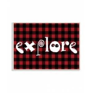"""Stupell Industries Explore Plaid Typography Wall Plaque Art, 12.5"""" x 18.5""""  - Multi"""