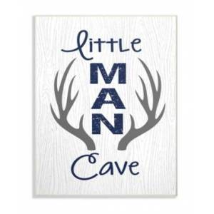 """Stupell Industries Little Man Cave Antlers Wood Grain Wall Plaque Art, 12.5"""" x 18.5""""  - Multi"""