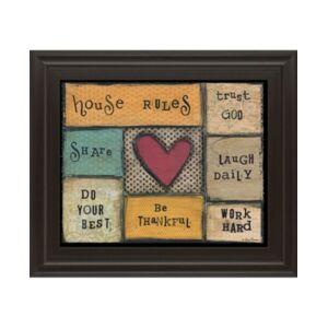 "Classy Art House Rules by Lisa Larson Framed Print Wall Art, 22"" x 26""  - Brown"