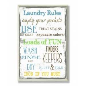 """Stupell Industries Home Decor Laundry Rules Typography Bathroom Wall Plaque Art, 12.5"""" x 18.5""""  - Multi"""