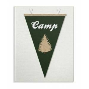 """Stupell Industries Camp Pennant Fabric Collage Green Wall Plaque Art, 12.5"""" x 18.5""""  - Multi"""