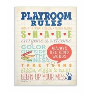 """Stupell Industries Playroom Rules Notebook Paper Wall Plaque Art, 12.5"""" x 18.5""""  - Multi"""