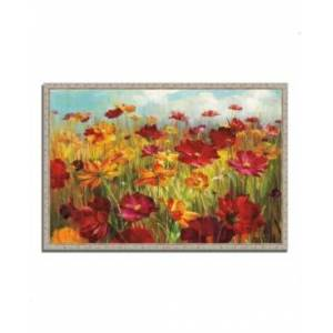 """Tangletown Fine Art Cosmos in the Field by Danhui Nai Fine Art Giclee Print on Gallery Wrap Canvas, 47"""" x 32""""  - Multi"""