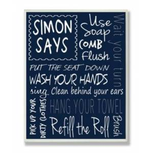 "Stupell Industries Home Decor Simon Says Bath Rules Chalkboard Bathroom Wall Plaque Art, 12.5"" x 18.5""  - Multi"