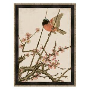 "Melissa Van Hise Songbird and Cherry Blossoms Framed Giclee Wall Art - 35"" x 47"" x 2"""