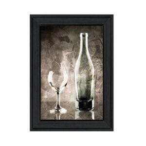 "Trendy Decor 4U Moody Gray Wine Glass Still Life by Bluebird Barn, Ready to hang Framed Print, Black Frame, 15"" x 19""  - Multi"