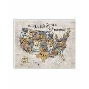 """Stupell Industries Home Decor United States Map Typography Art Wall Plaque Art, 12.5"""" x 18.5""""  - Multi"""