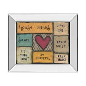 "Classy Art House Rules by Lisa Larson Mirror Framed Print Wall Art, 22"" x 26""  - Brown"