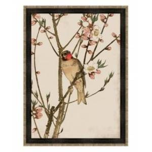"""Melissa Van Hise Ruby Throat and Peach Blossoms Framed Giclee Wall Art - 35"""" x 47"""" x 2""""  - Multi"""