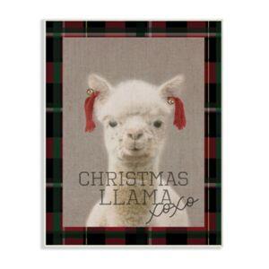 "Stupell Industries Christmas Llama Xoxo Wall Plaque Art, 12.5"" x 18.5""  - Multi"