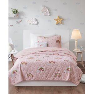 Zone Mi Zone Kids Alicia Twin 3 Piece Rainbow with Metallic Printed Stars Reversible Coverlet Set Bedding  - Pink