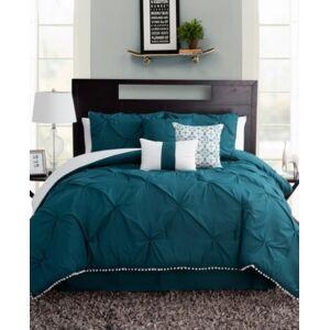 Sanders Pom-Pom Full 7 Piece Comforter Set Bedding  - Teal