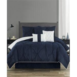 Sanders Pom-Pom Twin 6 Piece Comforter Set Bedding  - Navy