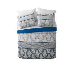 Vcny Home Beckham Damask Bed in a Bag 6 Piece Comforter Set, Twin Bedding  - Blue