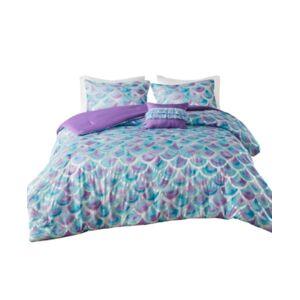 Zone Mi Zone Pearl Full/Queen Metallic Printed Reversible Comforter, Set of 4 Bedding  - Teal - Purple