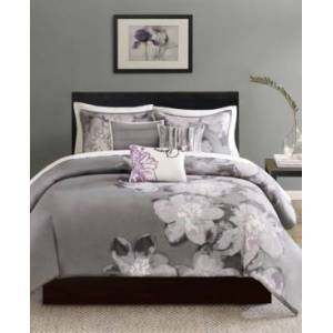 Madison Park Serena 6-Pc. Queen Duvet Cover Set Bedding  - Grey