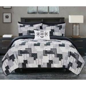 Chic Home Eliana 8 Piece King Bed in a Bag Quilt Set Bedding  - Black