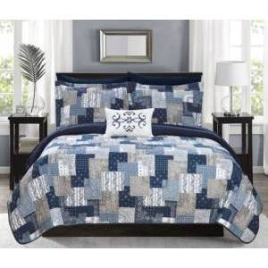 Chic Home Eliana 8 Piece King Bed in a Bag Quilt Set Bedding  - Blue