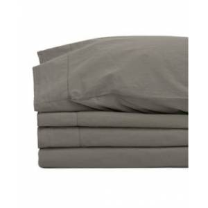 Jennifer Adams Home Jennifer Adams Relaxed Cotton Percale California King Sheet Set Bedding  - Charcoal
