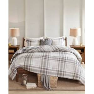 Madison Park Sheffield Full/Queen 4-Pc. Cotton Printed Reversible Comforter Set Bedding  - Grey