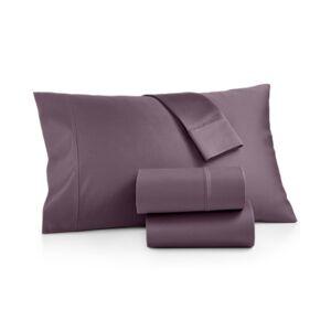 Aq Textiles Bergen 4-Pc. California King Sheet Set, 1000 Thread Count 100% Certified Egyptian Cotton Bedding  - Plum