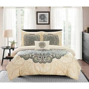 Chic Home Palmer 8 Piece Queen Bed In a Bag Comforter Set Bedding  - Beige