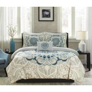 Chic Home Palmer 8 Piece Queen Bed In a Bag Comforter Set Bedding  - Blue