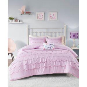 Zone Mi Zone Sophia Scalloped 3-Piece Twin/Twin Xl Comforter Set Bedding  - Pink