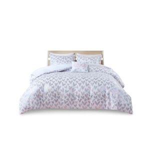 Zone Mi Zone Kristie Twin/Twin Extra Large Iridescent Metallic Heart Printed Duvet Cover, Set of 3 Bedding  - Multi