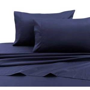 Tribeca Living 750 Thread Count Cotton Sateen Extra Deep Pocket King Sheet Set Bedding  - Navy Blue