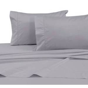 Tribeca Living 750 Thread Count Cotton Sateen Extra Deep Pocket King Sheet Set Bedding  - Silver Grey