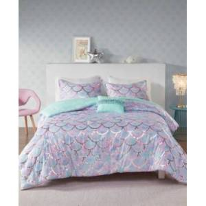 Zone Mi Zone Metallic Printed 4-Piece Full/Queen Reversible Comforter Set Bedding  - Aqua/Purple