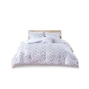 Zone Mi Zone Kristie Twin/Twin Extra Large Iridescent Metallic Heart Printed Comforter, Set of 3 Bedding  - Multi