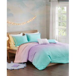 Zone Mi Zone Glitter Ombre 4-Piece Full/Queen Reversible Duvet Cover Set Bedding  - Aqua