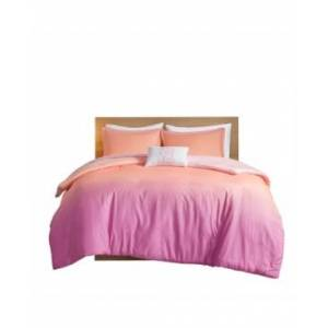Zone Mi Zone Glimmer Twin/Twin Extra Large Metallic Glitter Printed Reversible Duvet Cover, Set of 3 Bedding  - Pink
