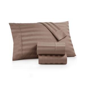Aq Textiles Bergen Stripe 4-Pc. Queen Extra-Deep Sheet Set, 1000 Thread Count 100% Certified Egyptian Cotton Bedding  - Light Tan