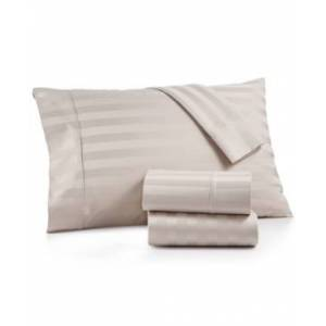 Aq Textiles Bergen Stripe 4-Pc. King Extra-Deep Sheet Set, 1000 Thread Count 100% Certified Egyptian Cotton Bedding  - Light Grey