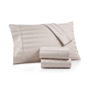 Aq Textiles Bergen Stripe 4-Pc. California King Sheet Set, 1000 Thread Count 100% Certified Egyptian Cotton Bedding  - Light Grey