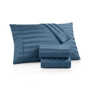 Aq Textiles Bergen Stripe 4-Pc. California King Extra Deep Pocket Sheet Set, 1000 Thread Count 100% Certified Egyptian Cotton Bedding  - Blue