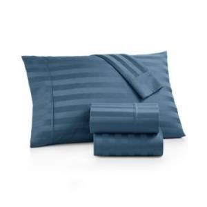 Aq Textiles Bergen Stripe 4-Pc. King Extra-Deep Sheet Set, 1000 Thread Count 100% Certified Egyptian Cotton Bedding  - Blue