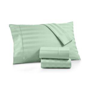 Aq Textiles Bergen Stripe 4-Pc. King Sheet Set, 1000 Thread Count 100% Certified Egyptian Cotton Bedding  - Blue/Green